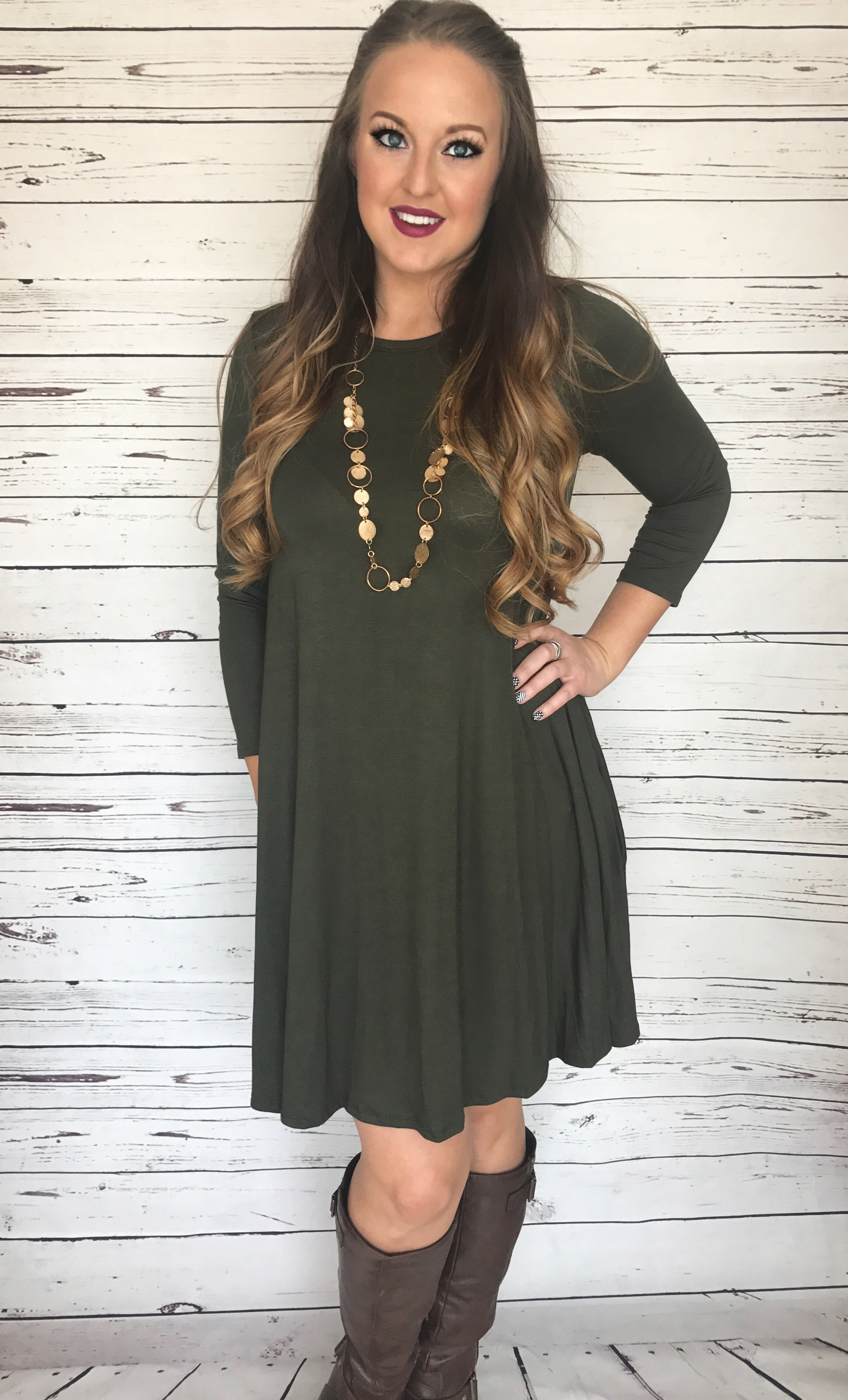 Olive 3/4 Sleeve Knee Length Dress