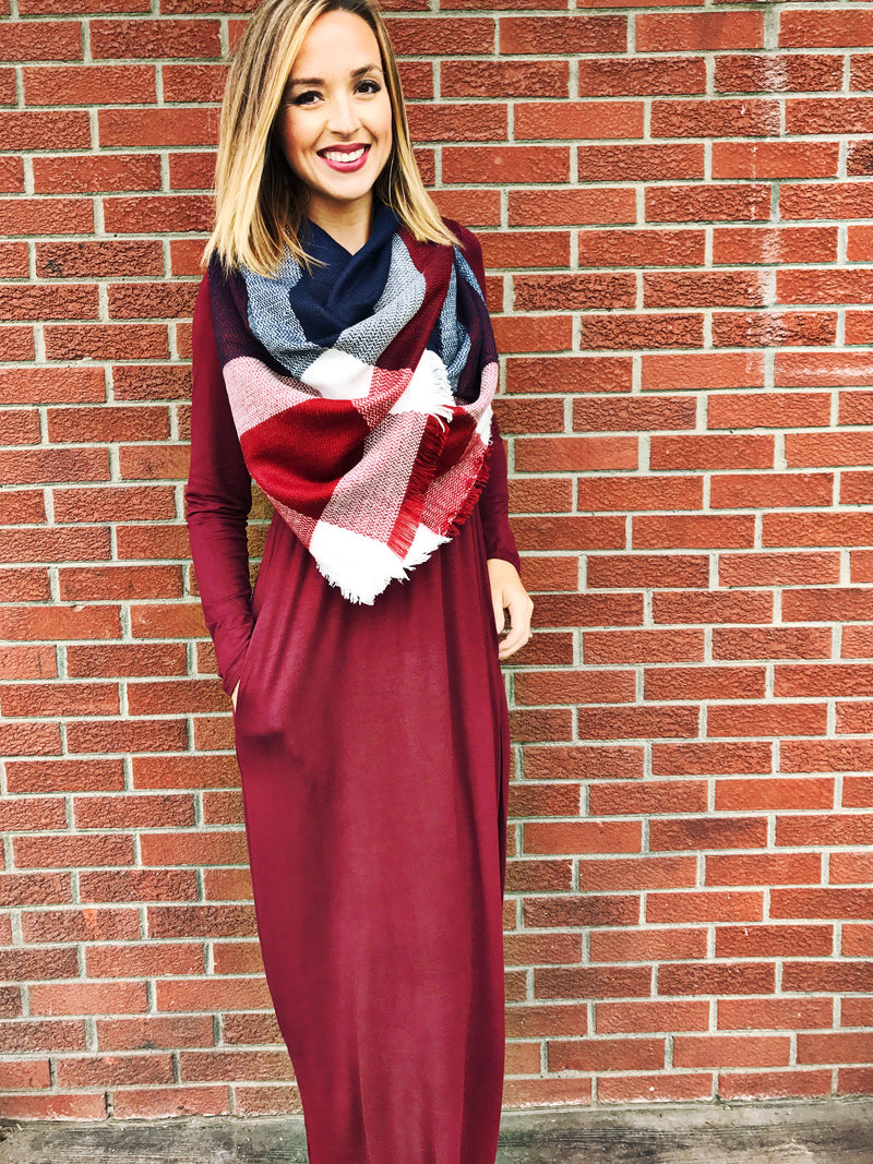 Long Sleeve Solid Maxi Dress in Burgundy - LURE Boutique