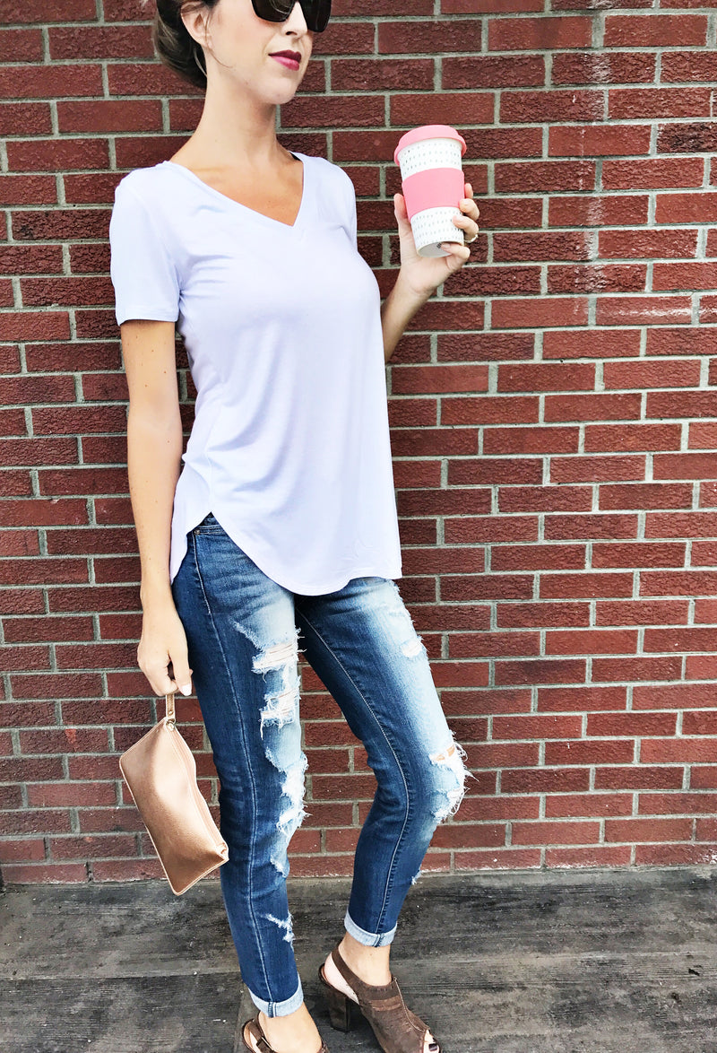Classic Solid Jersey Vneck - LURE Boutique