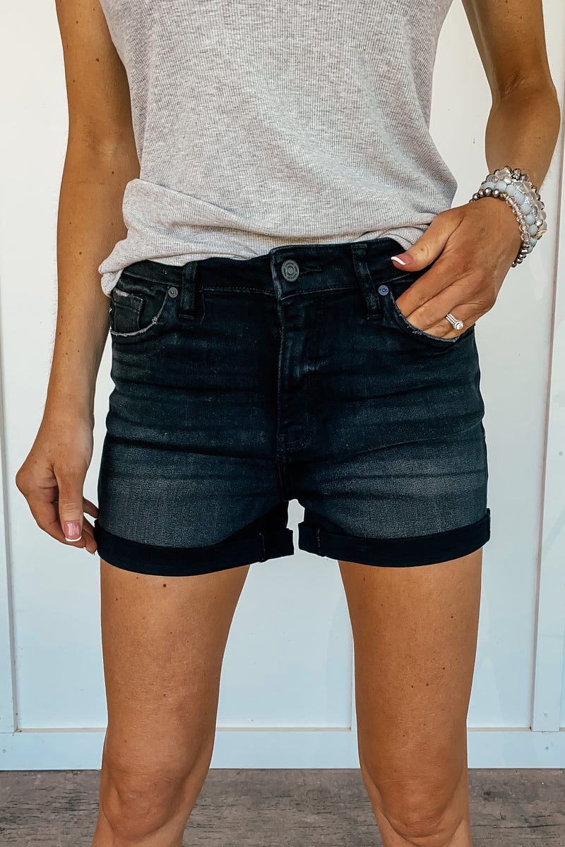 Black High Rise Folded Hem Kancan Shorts
