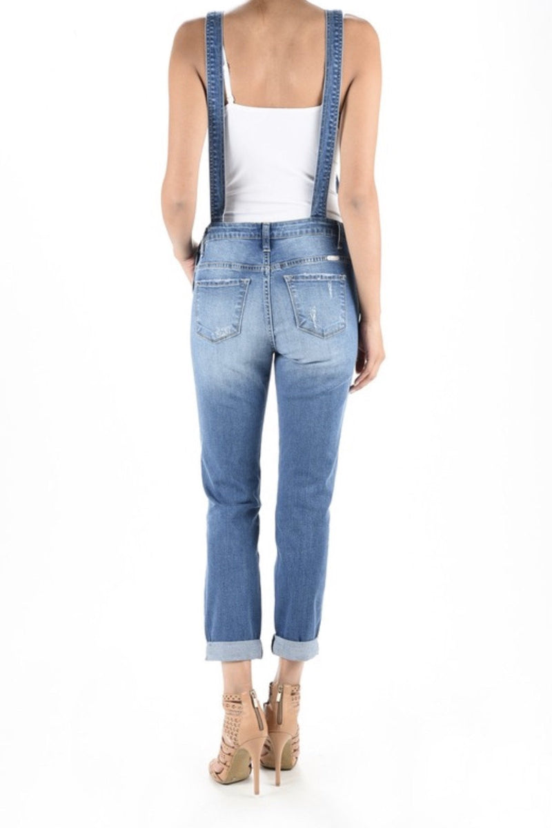 Distressed KanCan Overalls in Medium Denim