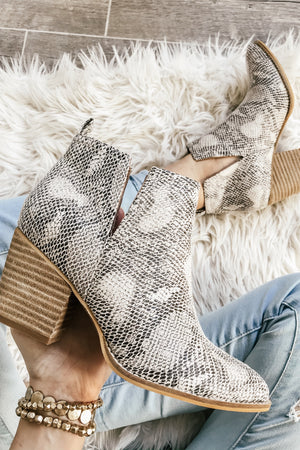 The Avery Faux Suede Bootie in Snake - LURE Boutique