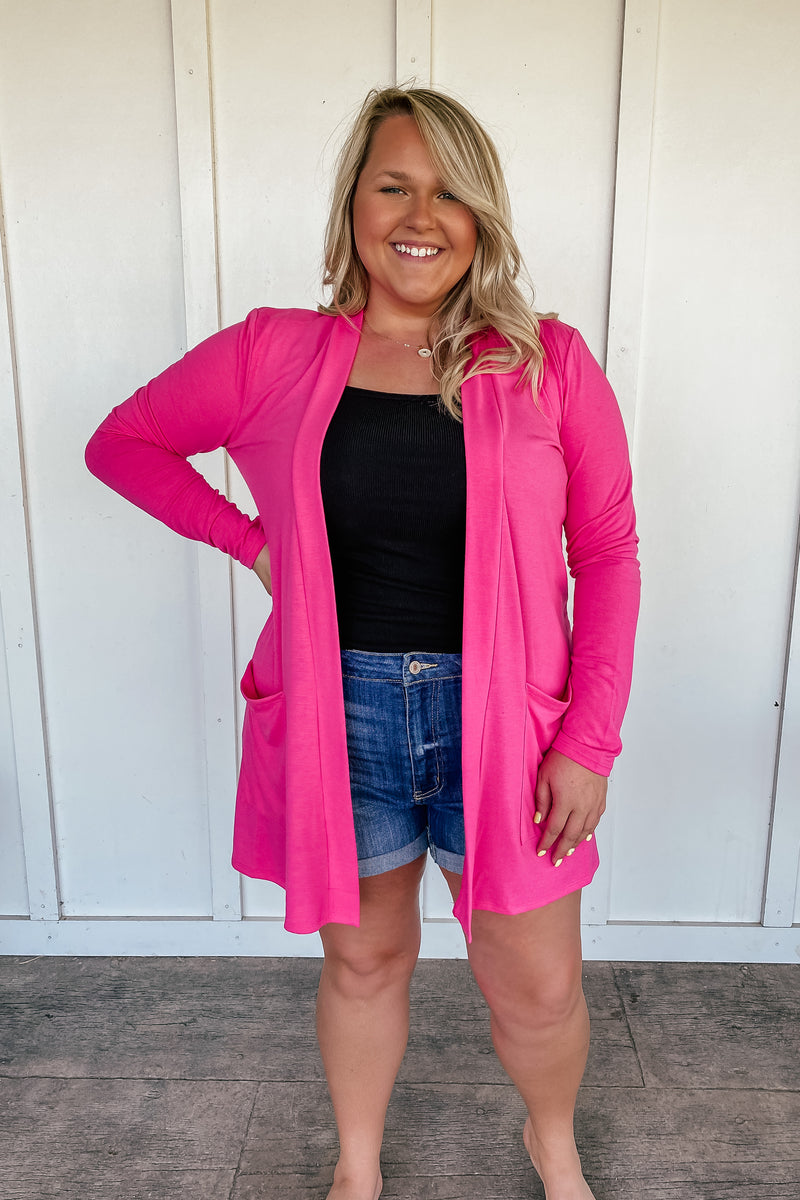 The Lana Hot Pink Cardigan - PLUS