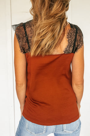 Tamara Lace Top in Rust - LURE Boutique