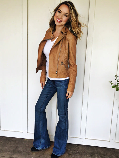 Washed Camel Leather Moto Jacket