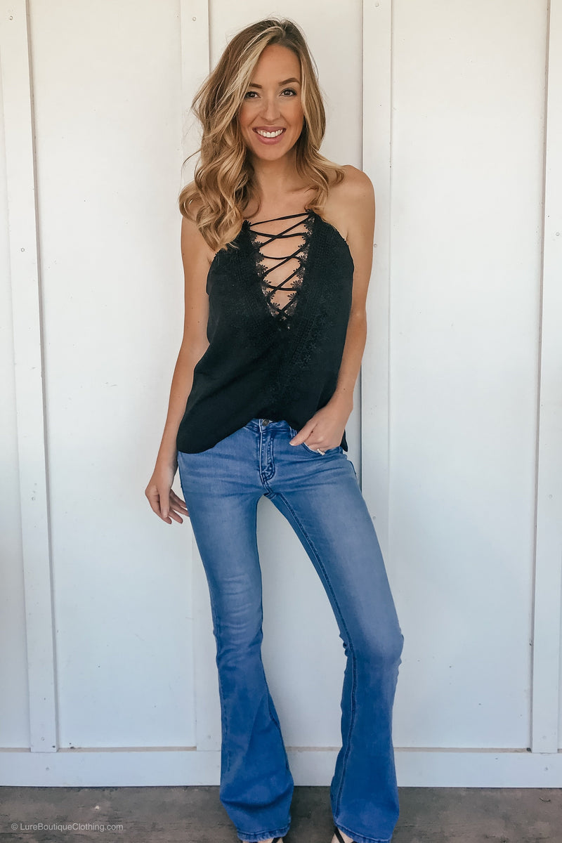 Embroidered Reversible Lace Tank in Black