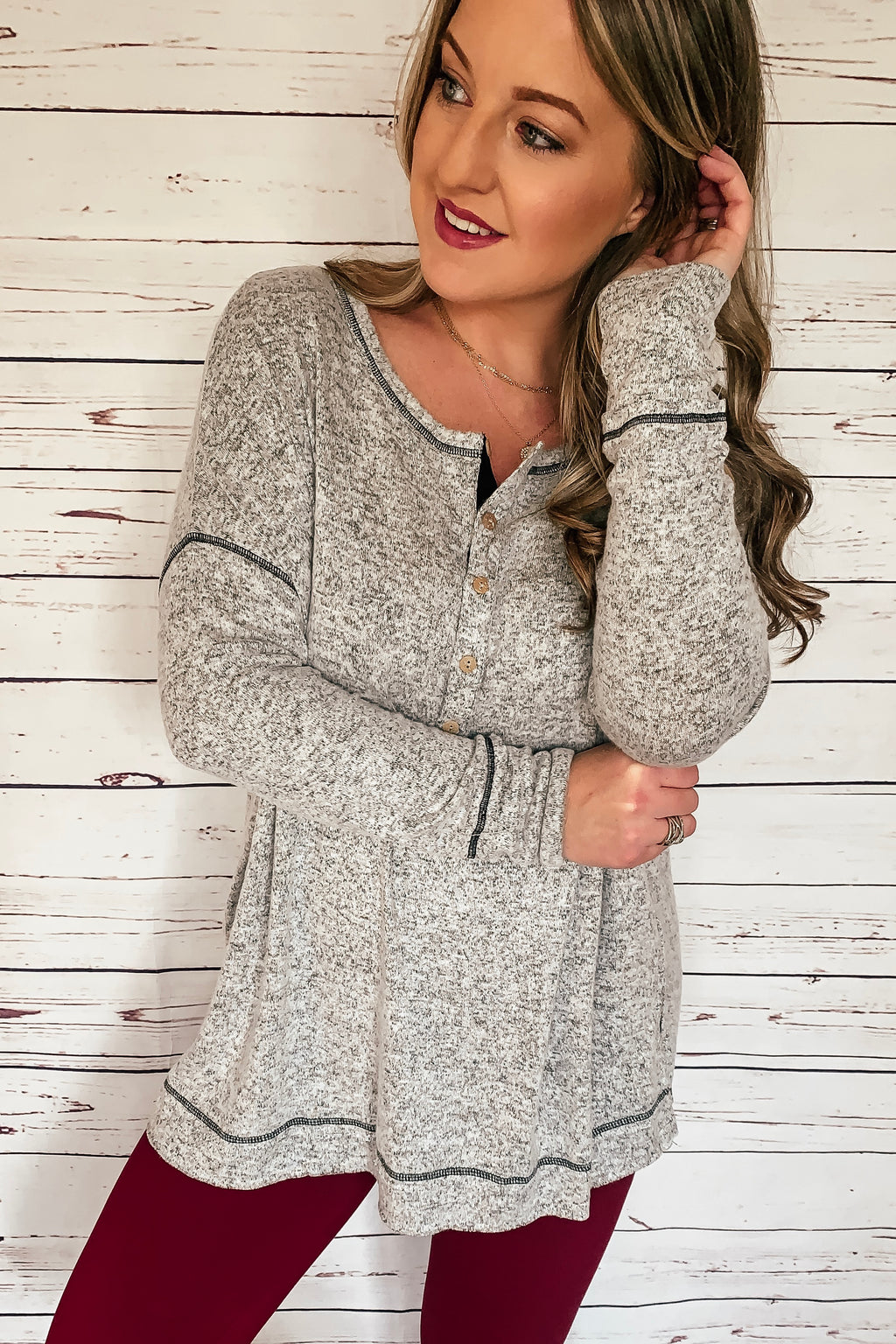 Cozy Casual Henley Top