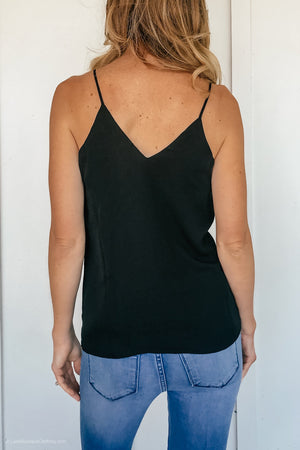 Embroidered Reversible Lace Tank in Black - LURE Boutique