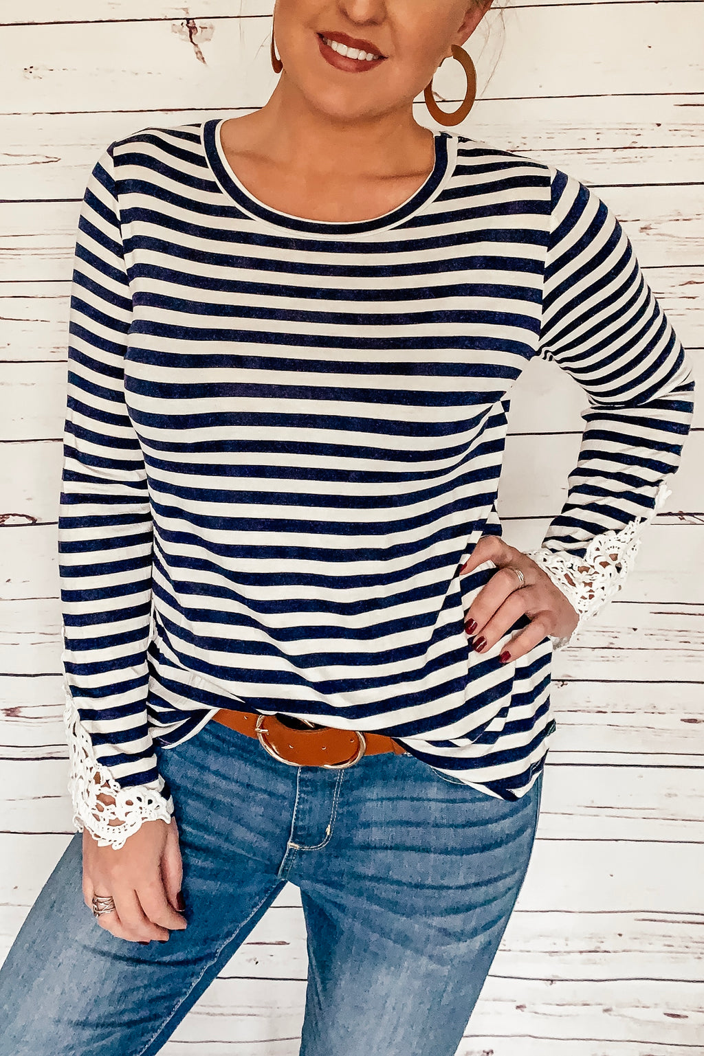 Navy Stripes and Crotchet Lace Top