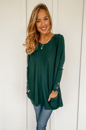 Oversized Pocketed Sweater in Hunter Green
