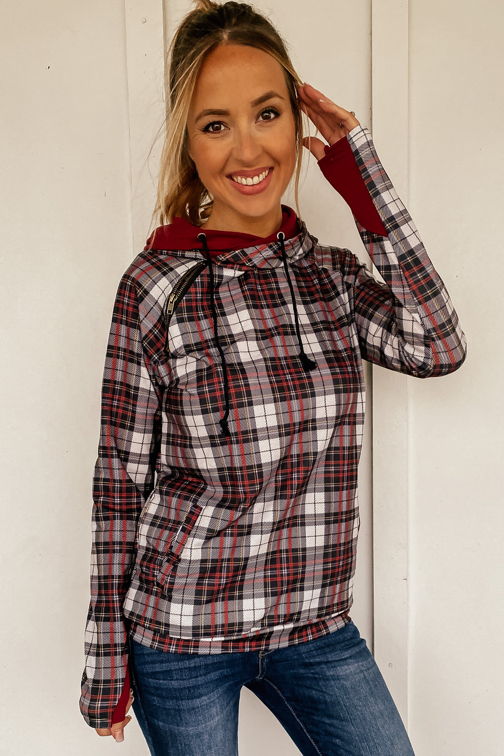 The Double Hooded Sweatshirt in Christmas Plaid