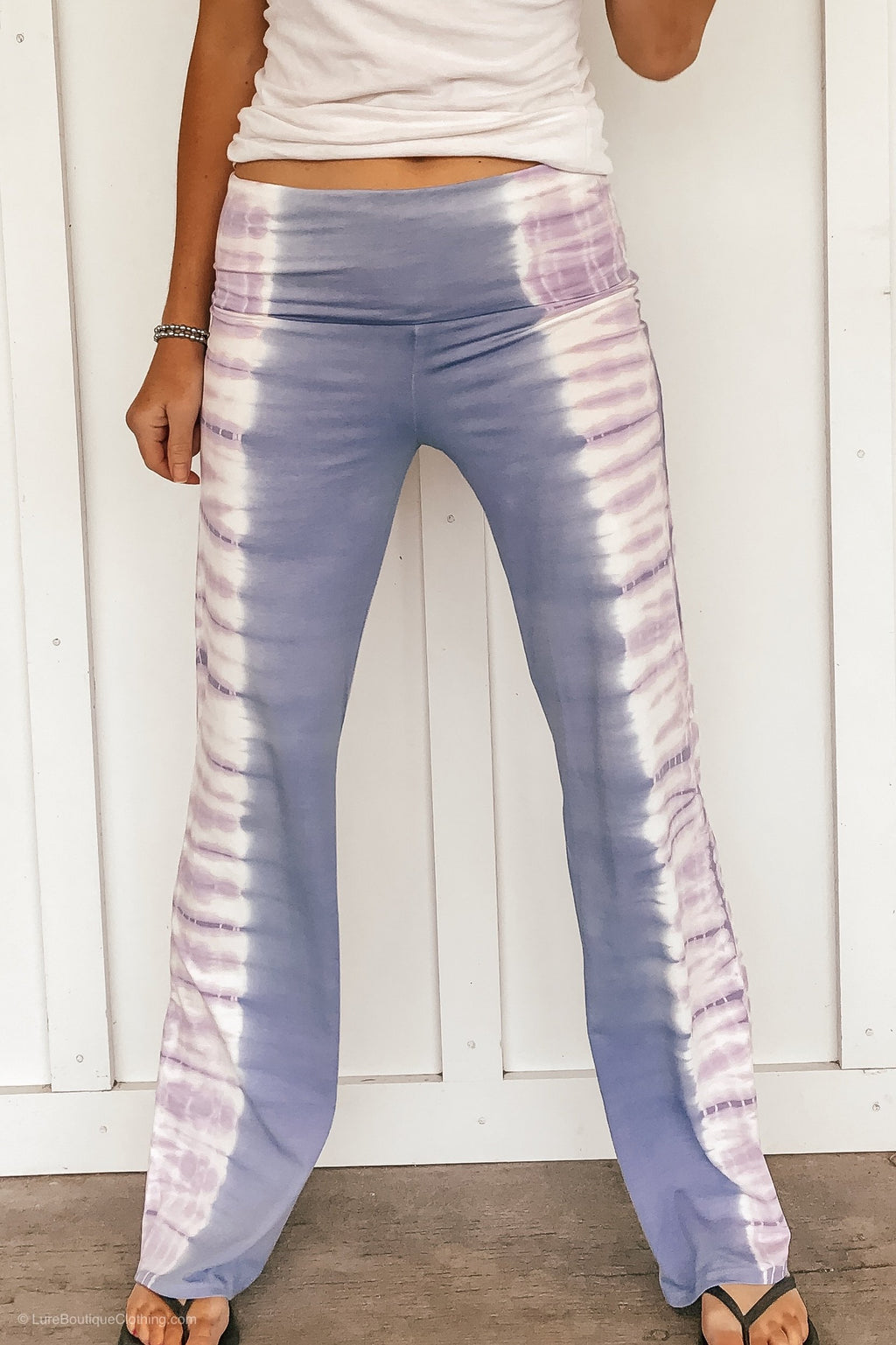 Fold Over Tie Dye Yoga Pants - Lavender - LURE Boutique