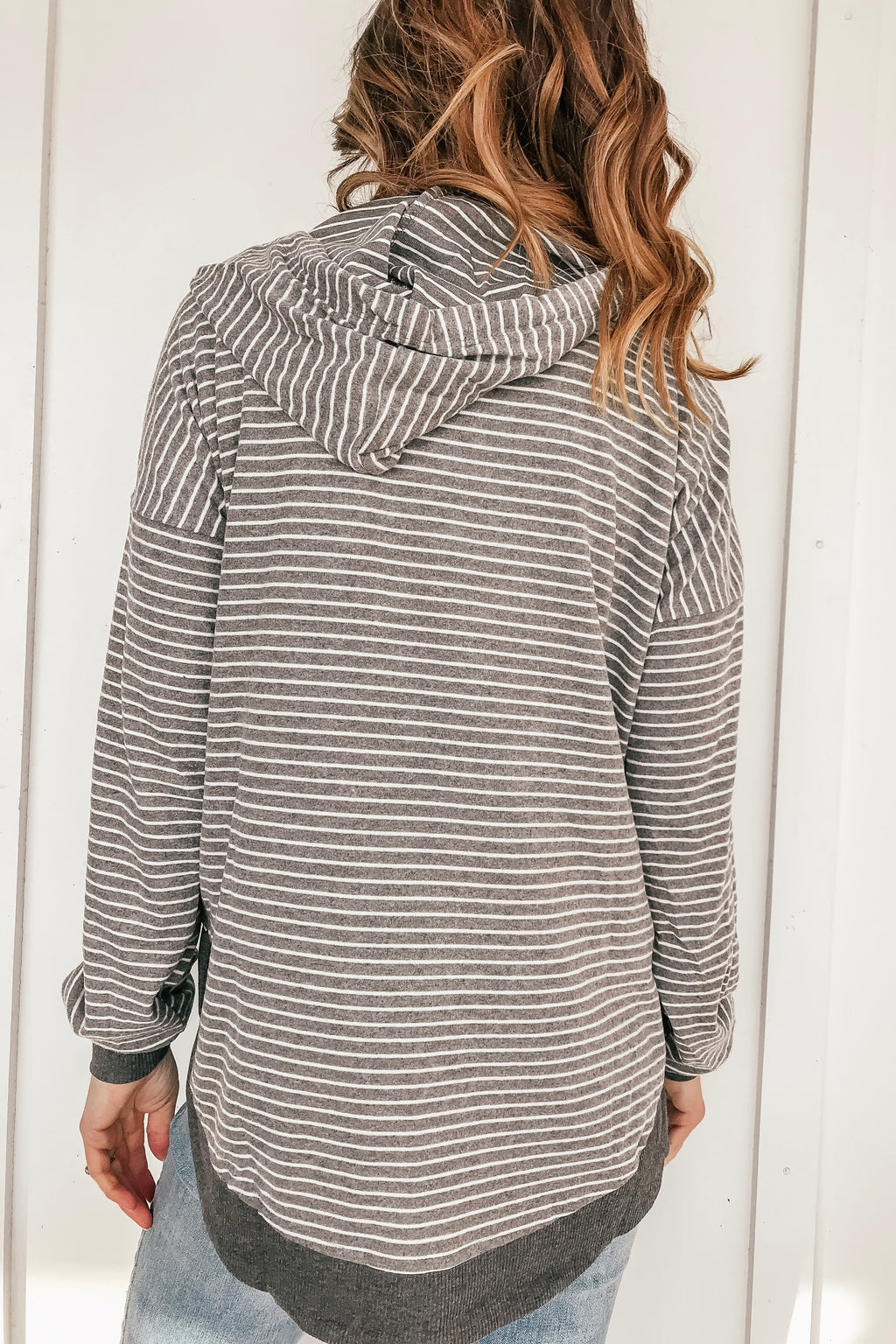 Gray Stripe Hooded Pullover