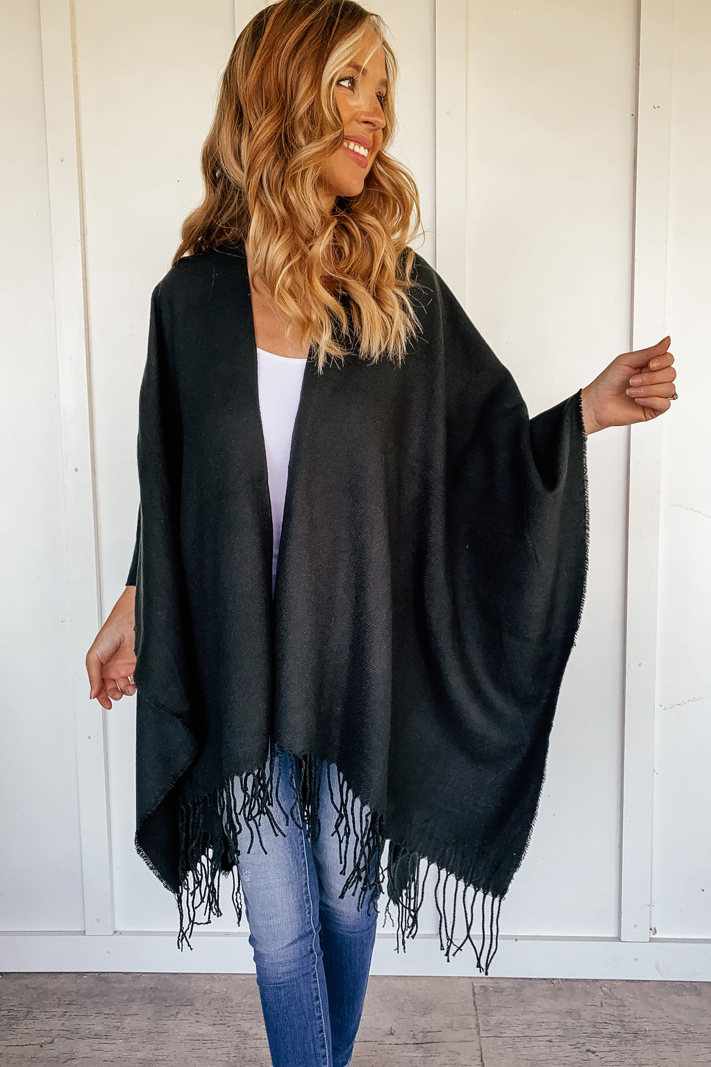 Classic Black Poncho Wrap with Fringe - LURE Boutique