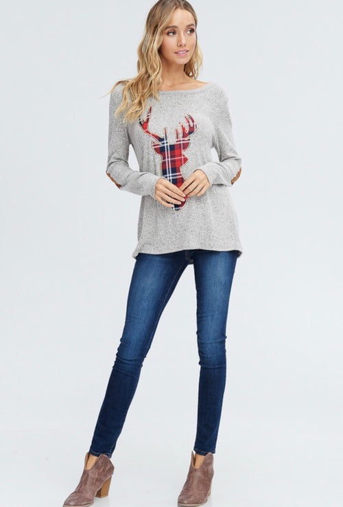Plaid Reindeer Top with Elbow Patches