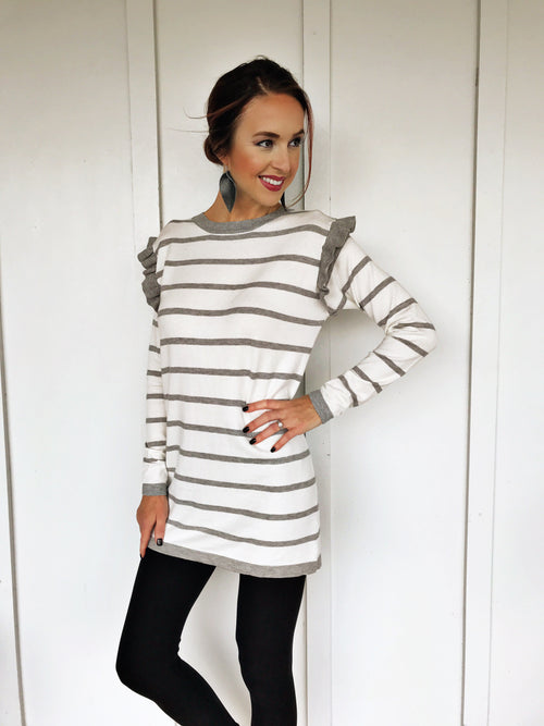 The Kendra Ruffle Stripe Sweater Dress