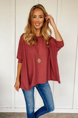 Waffle Knit Poncho Top (2 Colors) - LURE Boutique
