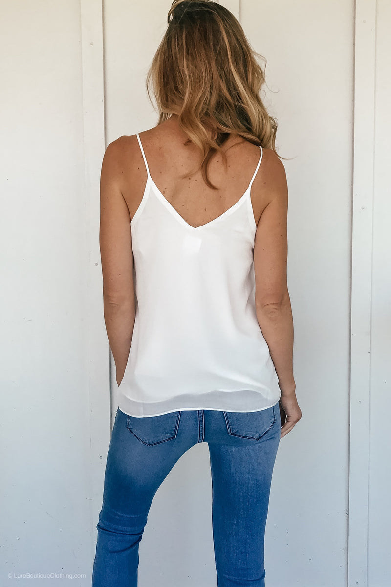 Embroidered Reversible Lace Tank in White