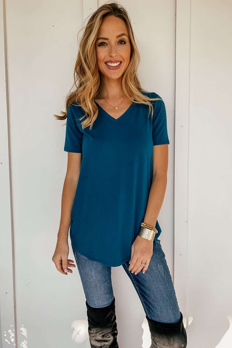 The Perfect V-Neck in Teal