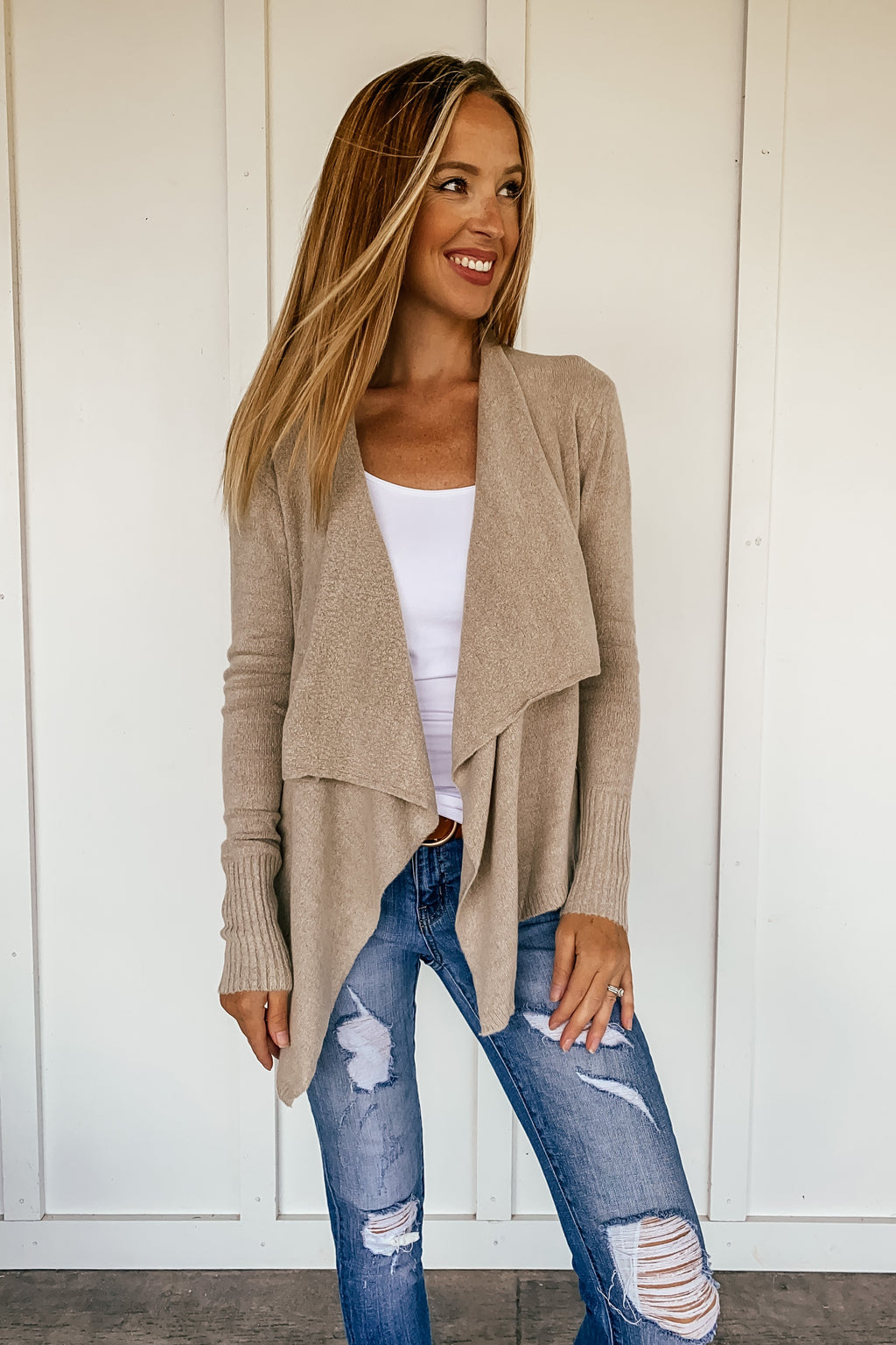 Midtown Open Cardigan in Taupe