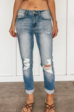 Relaxed and Distressed Kancan Jeans