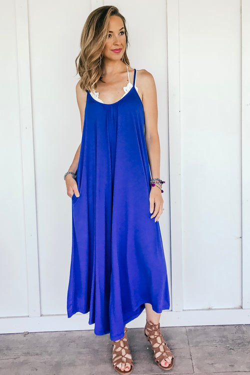 The Hattie Pocket Jumpsuit in Royal Blue