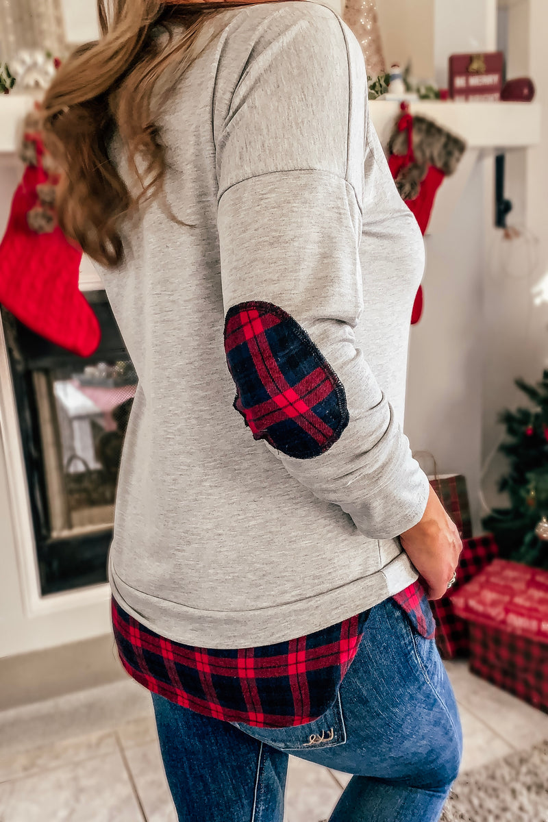 Plaid Patch Long Sleeve Top