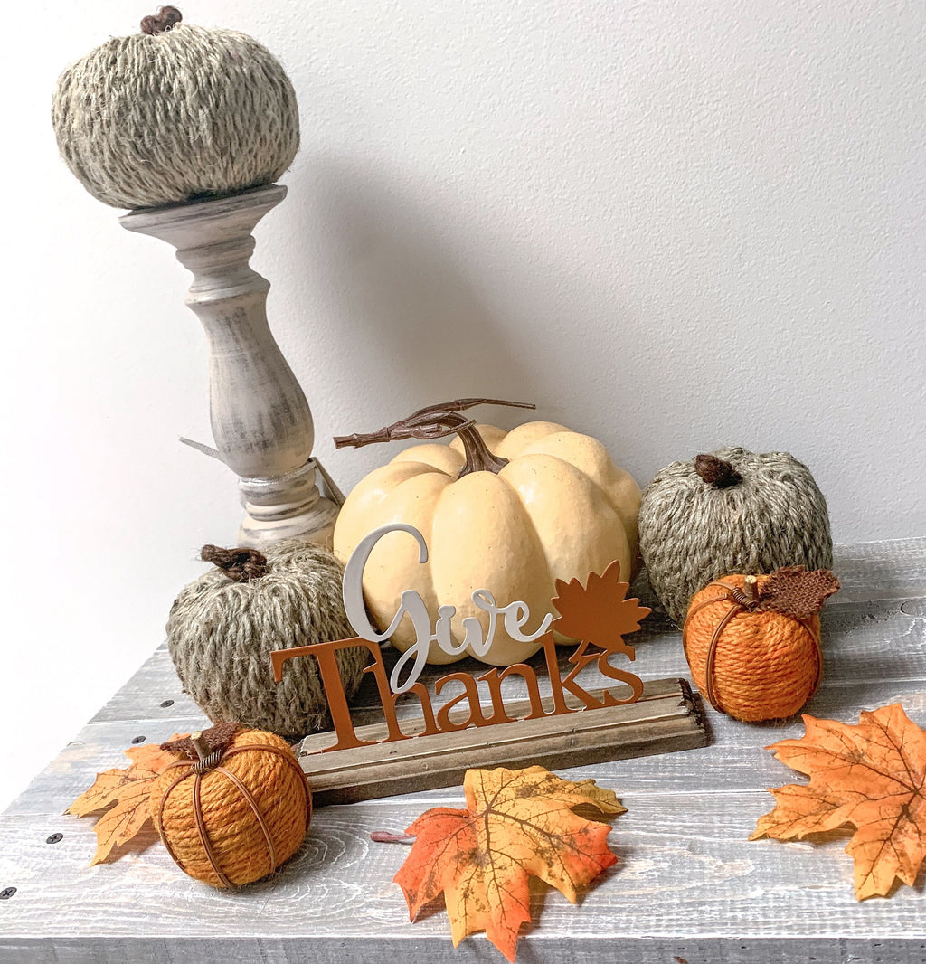 "8"" Cream Pumpkin with Stem and Vine - LURE Boutique"