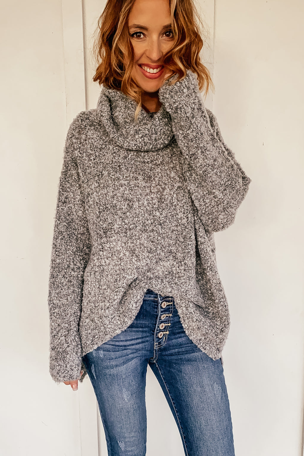 Troy Textured Cowl Neck Sweater in Grey