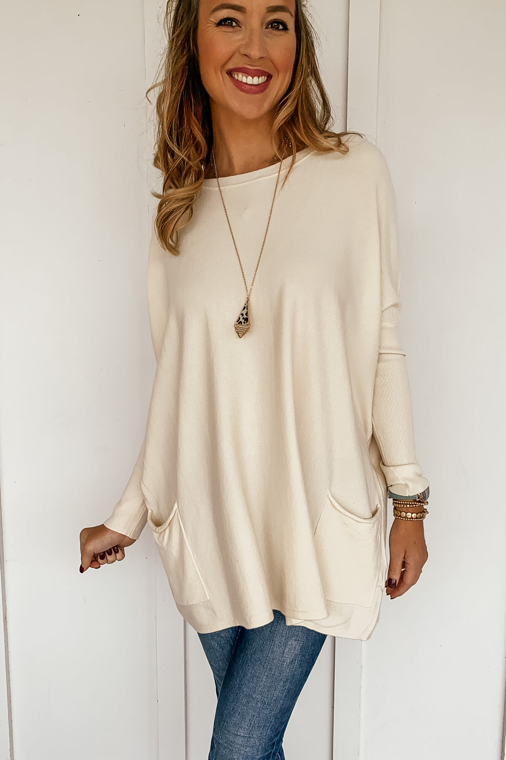 Oversized Pocketed Sweater in Cream