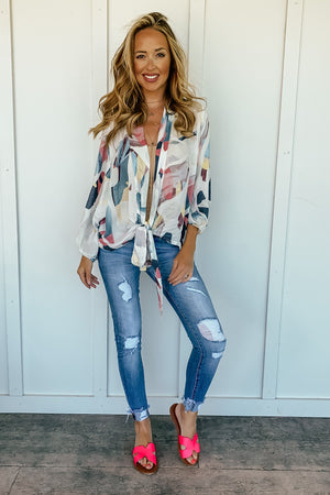 Abstract Front Tie Top - LURE Boutique