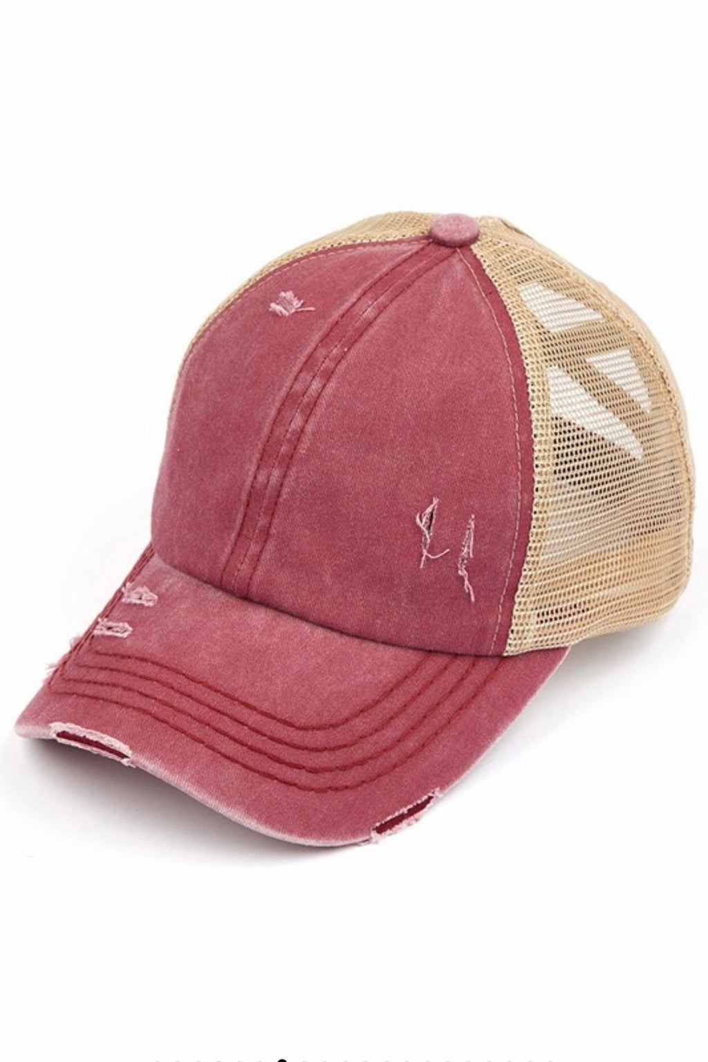 Ponytail Ball Cap in Berry