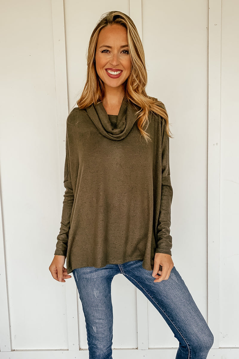 Jesse Cowl Neck Top in Olive - LURE Boutique