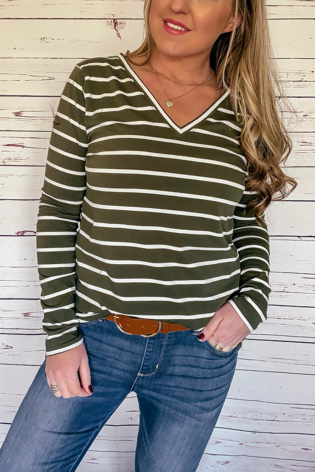 Tiffany Striped Long Sleeve Top - Olive