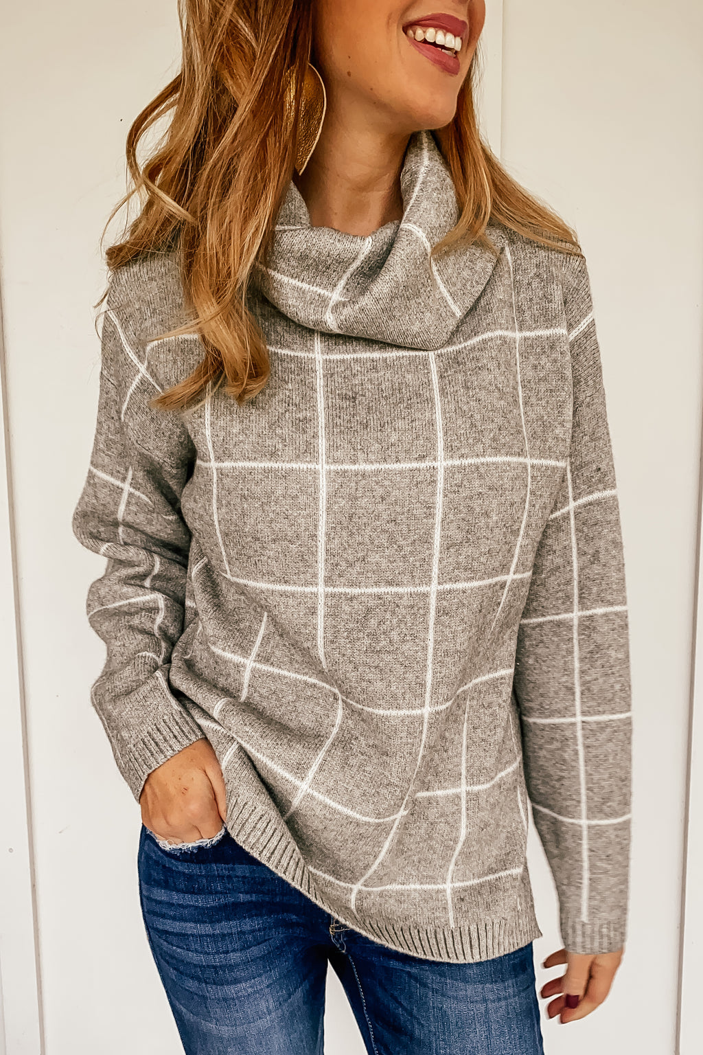 Checkered Turtleneck in Heather Gray