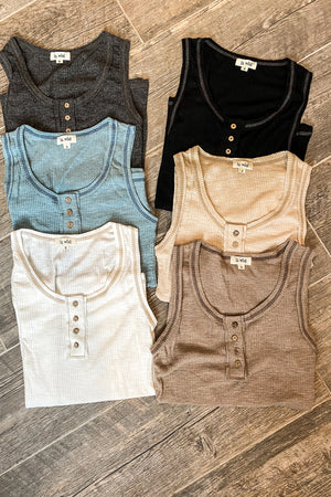 Ribbed Henley Tank Top in Several Colors
