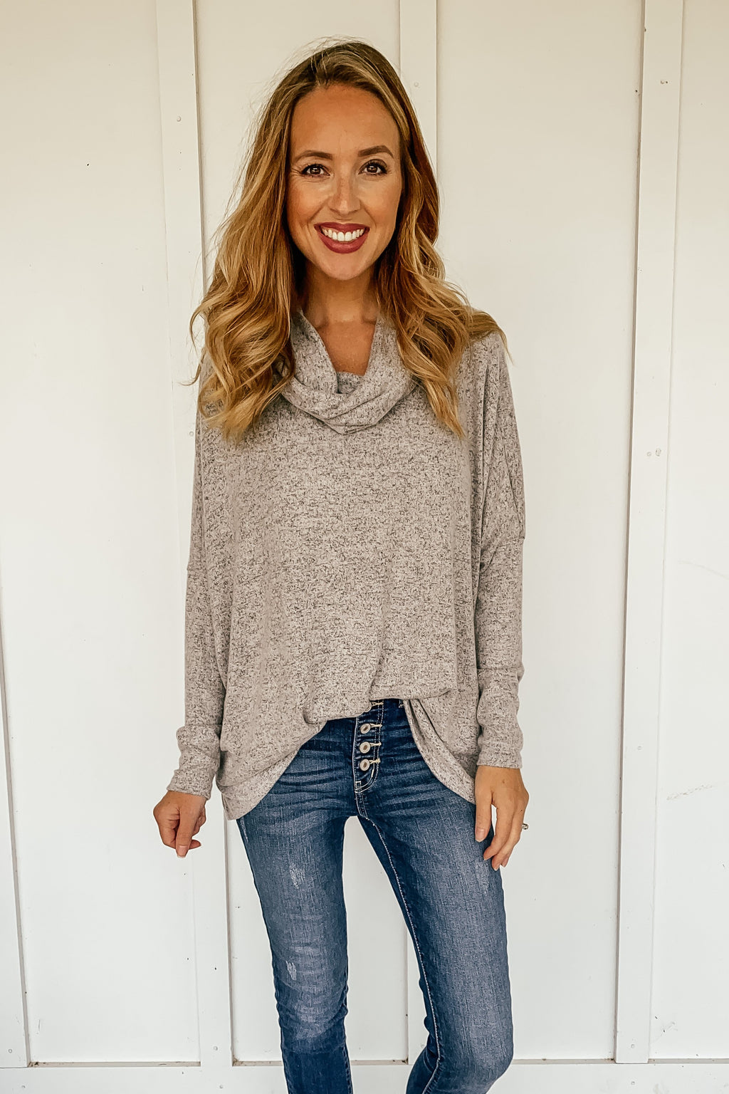 Jesse Cowl Neck Top in Heather Gray
