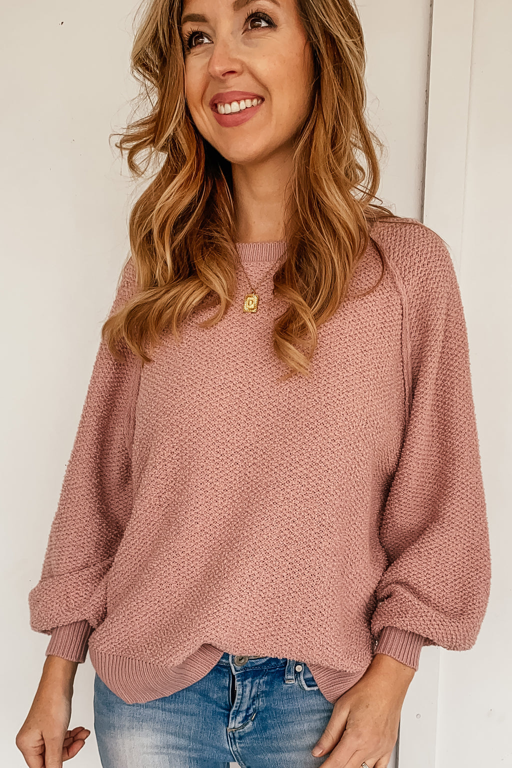 Stephanie Textured Sweater in Blush