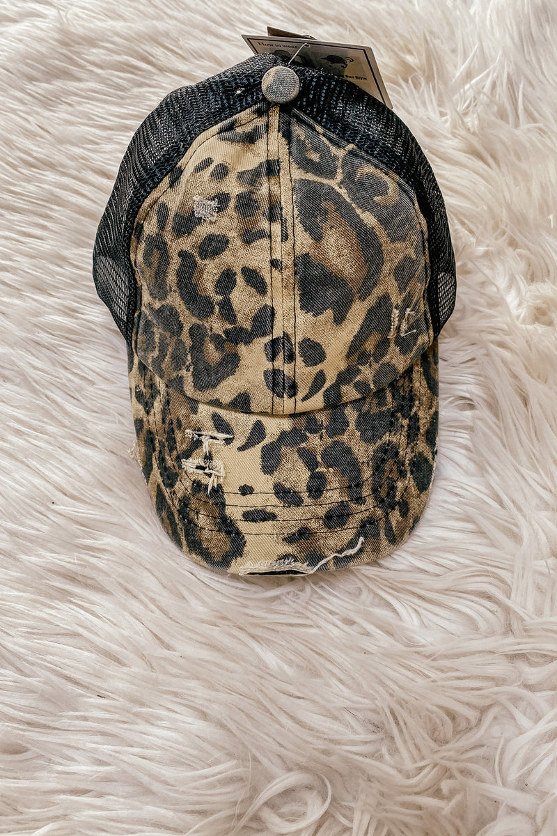 Ponytail Ball Cap in Leopard - LURE Boutique