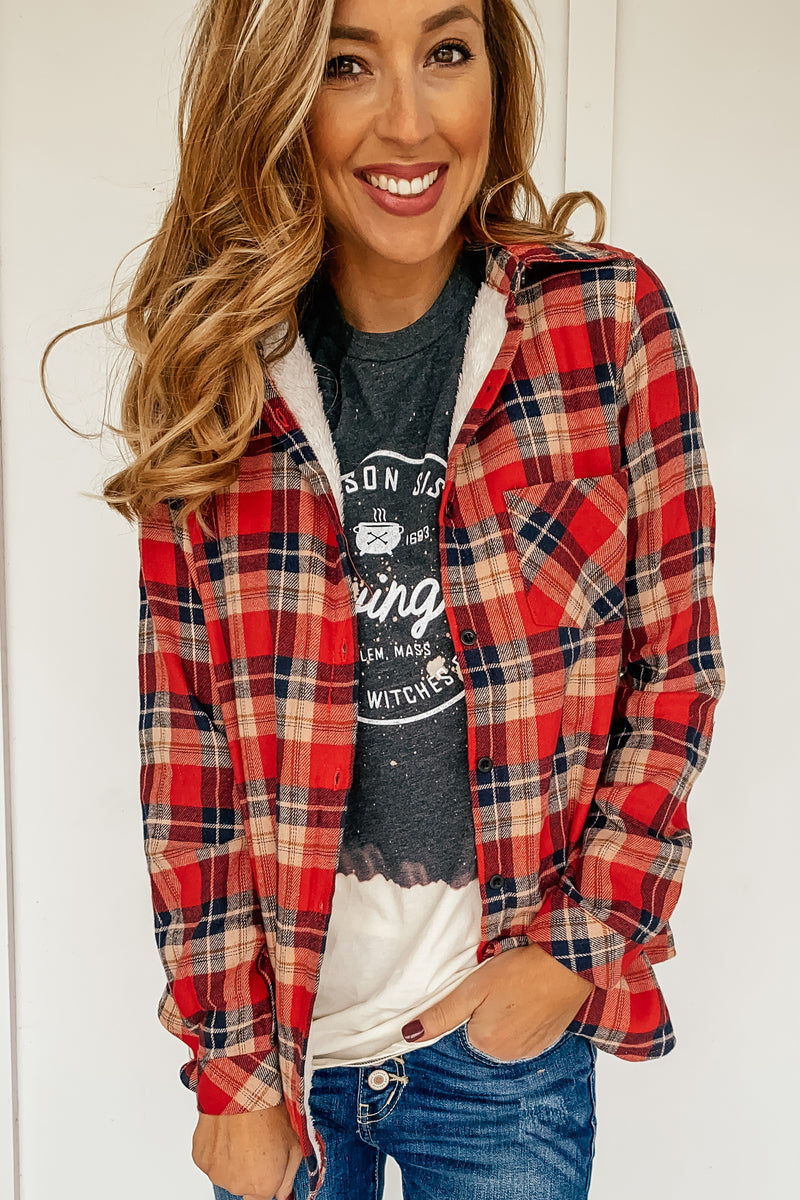 Zoey Fur Lined Plaid Jacket in Red and Navy