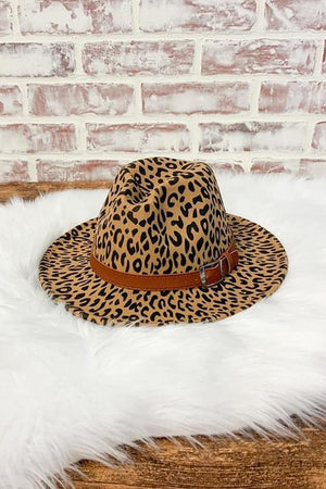 Leopard Felt Hat in Brown