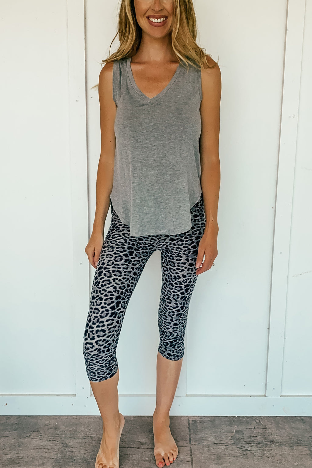 Gray and Black Leopard Capri Leggings - LURE Boutique