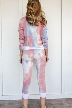 Tie Dye Lounge Set in Pink - LURE Boutique