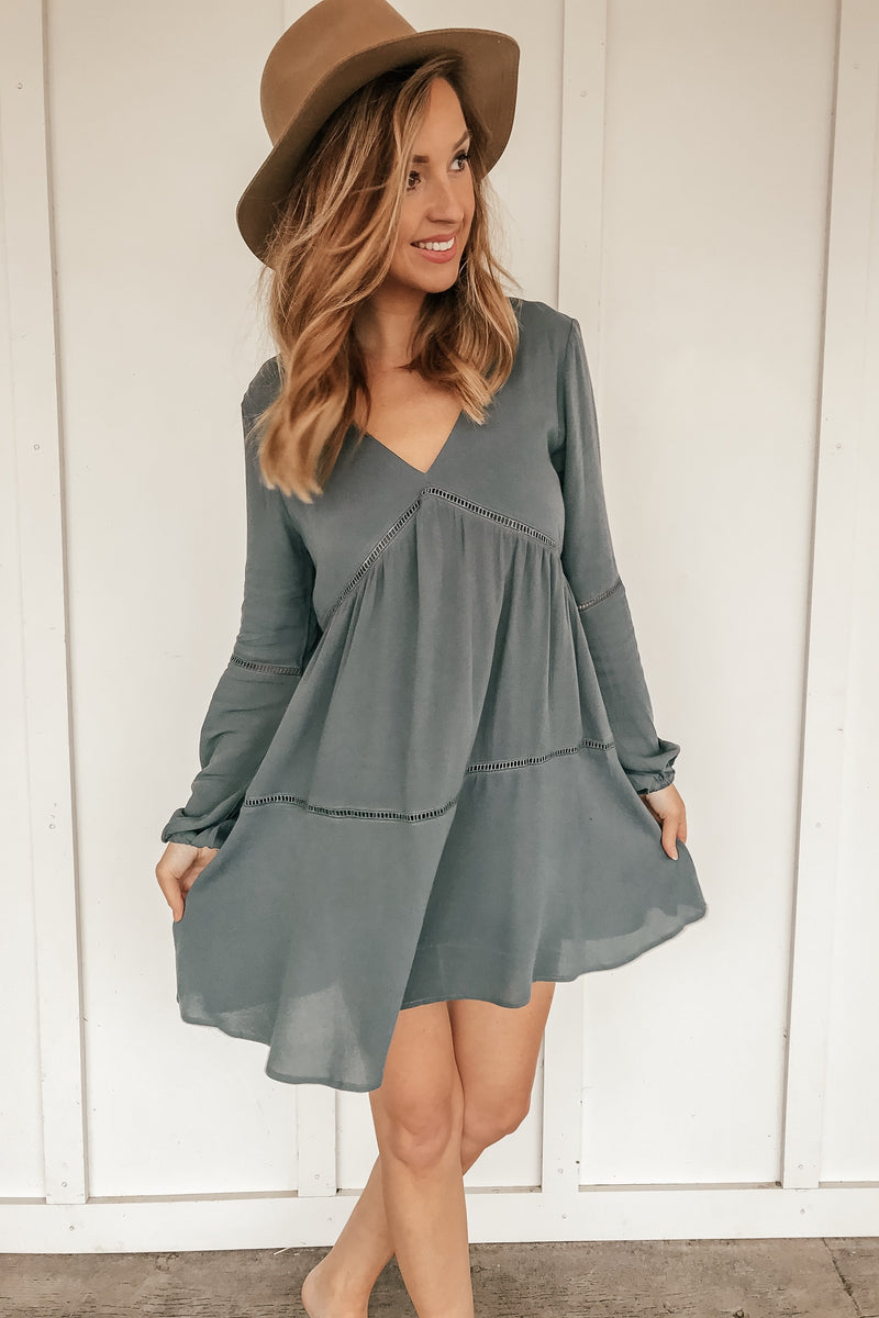 The Border Line Teal Tunic Dress