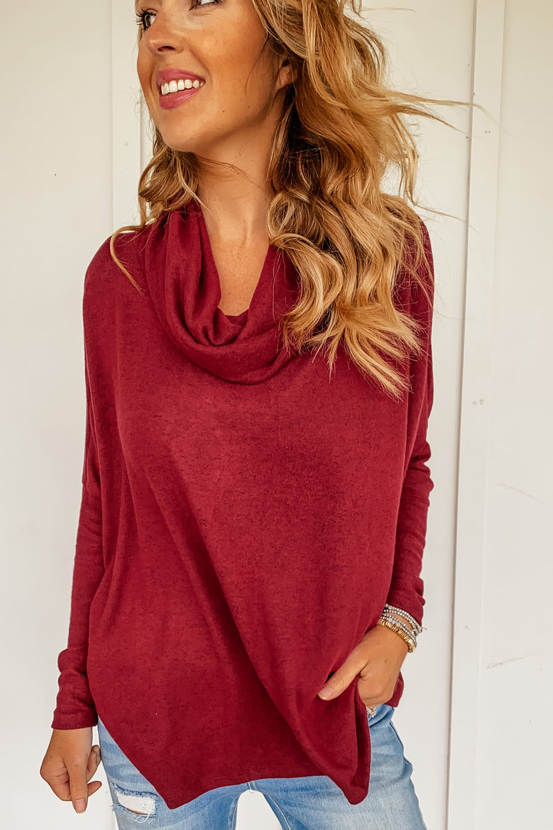 Jesse Cowl Neck Top in Wine