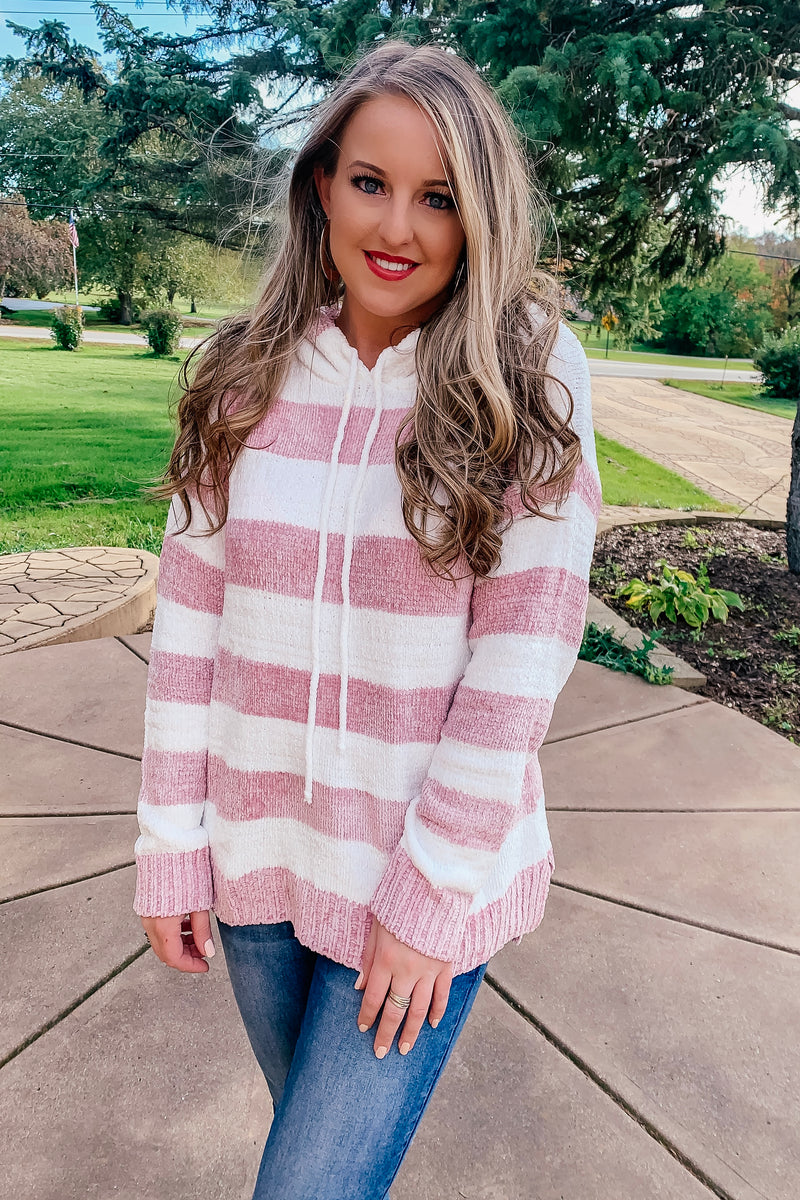 Mauve Striped Hooded Sweater