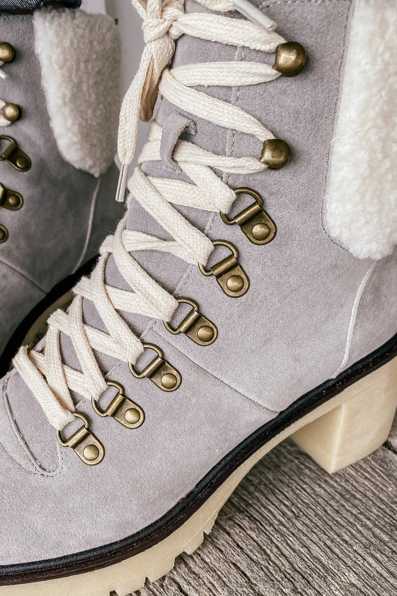 The Monroe Contemporary Military Bootie in Grey