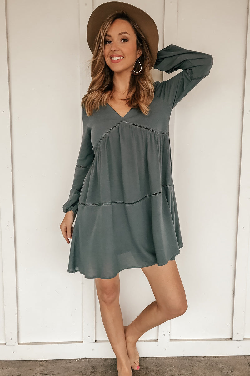 The Border Line Teal Tunic Dress - LURE Boutique