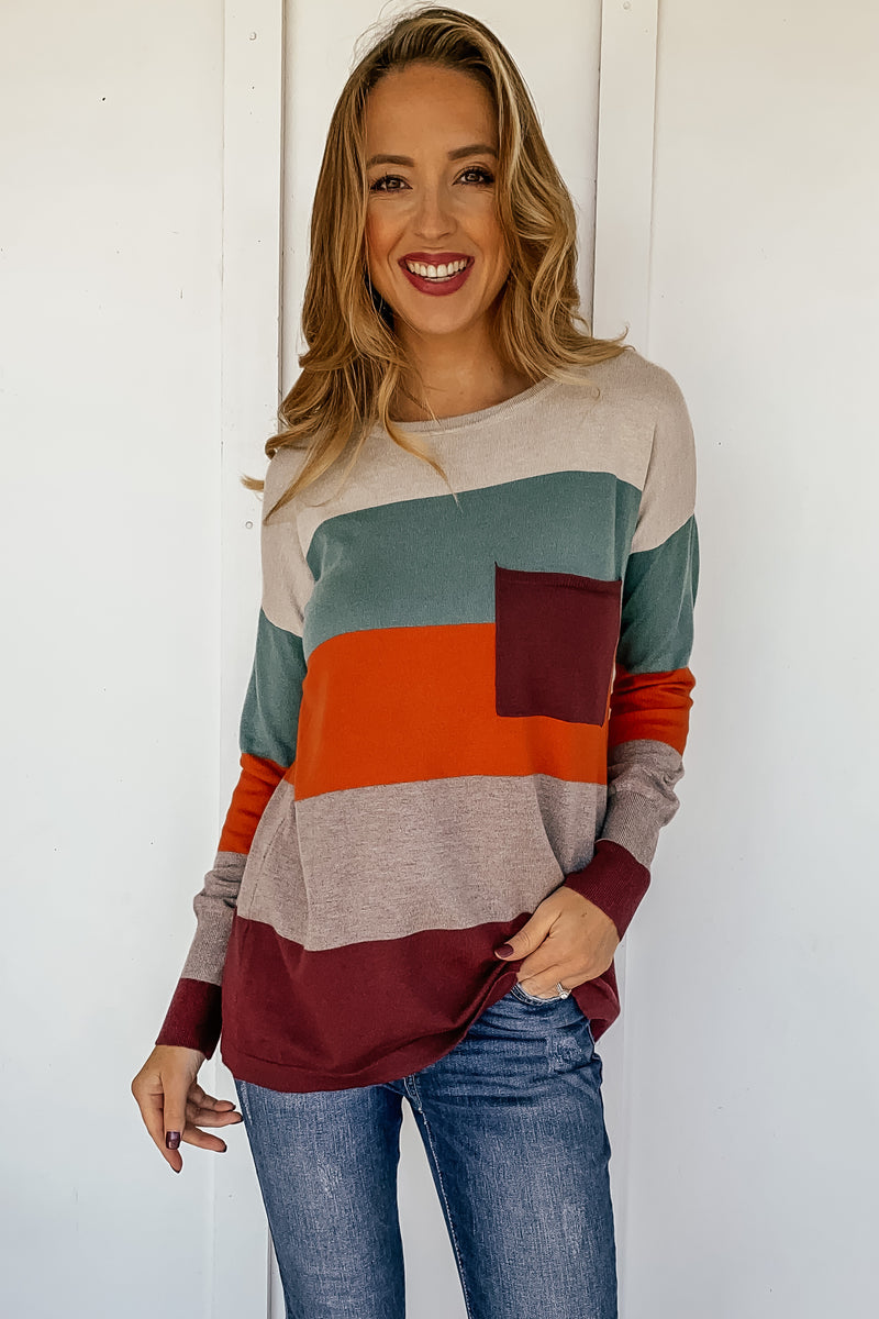 Autumn Calling Colorblock Sweater