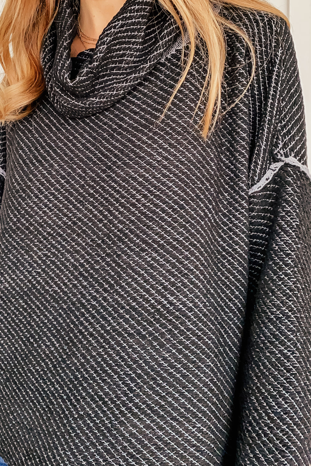 Black on Black Cowl Neck Sweater